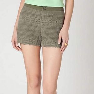 Anthropologie Army Green Crochet Shorts Size 2